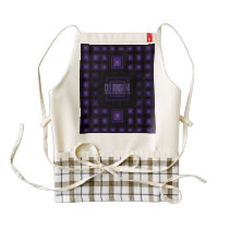 Squareception (Square Pattern) Purple Zazzle HEART Apron