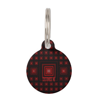 Squareception (Square Pattern) Red Pet ID Tag