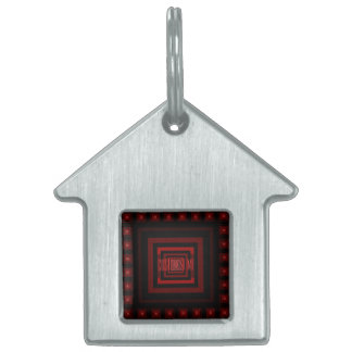 Squareception (Square Pattern) Red Pet Name Tag