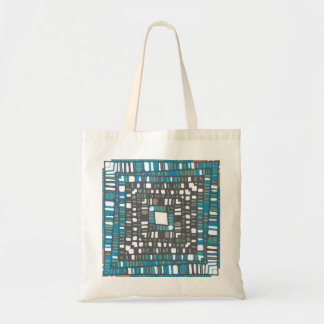 Squared green and blue pattern tote bag