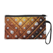 Squared pattern with diamonds wristlet purse