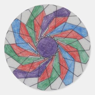 Squared Pinwheel Spirograph Design Classic Round Sticker