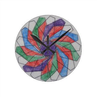 Squared Pinwheel Spirograph Design Round Wallclocks