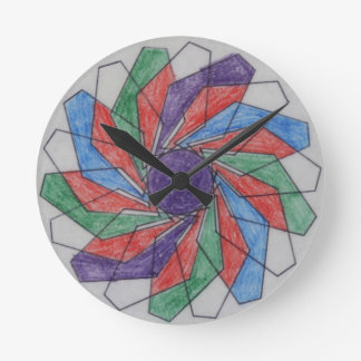 Squared Pinwheel Spirograph Design Round Wall Clocks