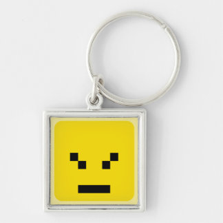 squared smiley angry keychain
