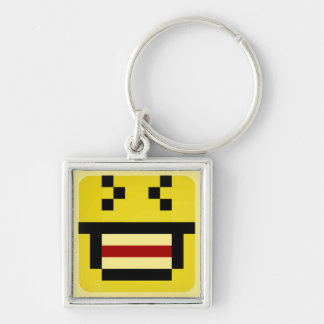 squared smiley big laugh keychain