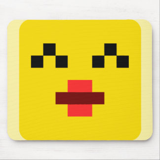 squared smiley kissing mouse pad