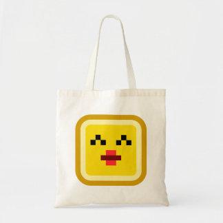 squared smiley kissing tote bag