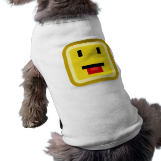 squared smiley poking tongue dog tee shirt