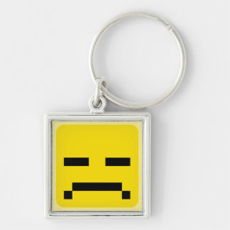 squared smiley sad keychain
