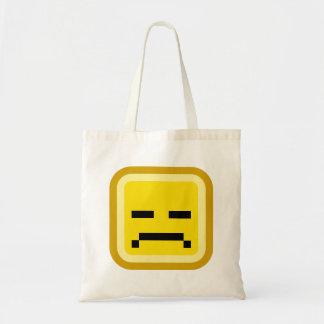 squared smiley sad tote bag