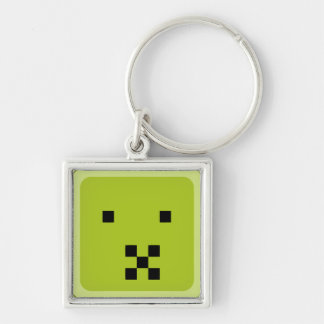 squared smiley sick keychain