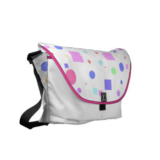 Squares and Circles-Multi Colored+Pink Trim Messenger Bag