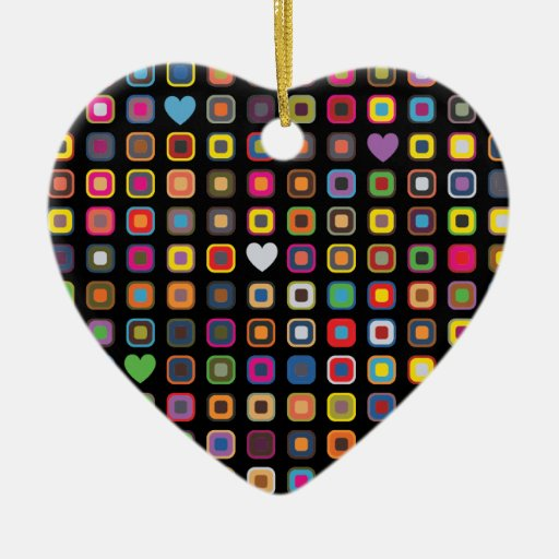Squares and Hearts Ornament