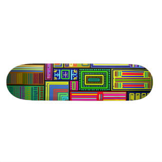 Squares and Rectangles multicolored skateboard