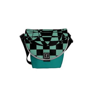 Squares and Sphere Rickshaw Messenger Bag Green
