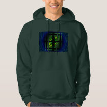 Squares And Vortex Pattern Fractal Blue and Green Hoodie