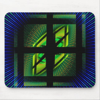 Squares And Vortex Pattern Fractal Blue and Green Mouse Pads