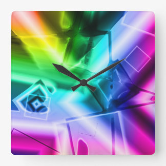 """Squares"" by Lola Connelly Square Wall Clock"