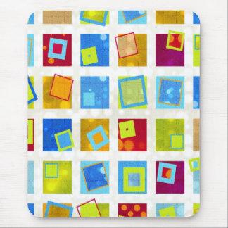 Squares - Dots - Retro Style Geometric Pattern Mouse Pad