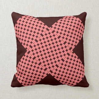 Squares gallery wrap pink and dark maroon throw pillow