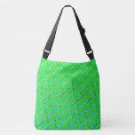 Squares green bluish, lines in three colors crossbody bag