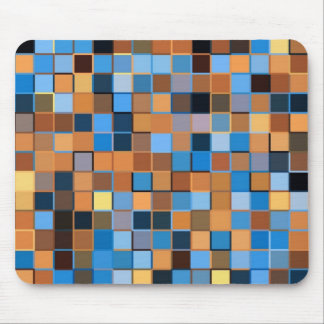 Squares of Blue and Browns Mouse Pad