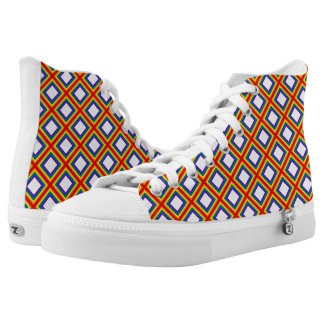 Squares Stripes Frame Rainbow Flag Colors High-Top Sneakers