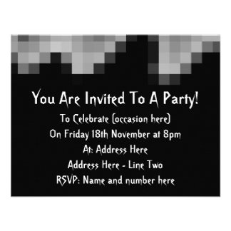 Squares Wave Abstract Black and Gray Personalized Invites