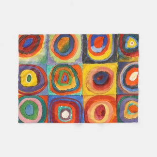 Squares with Concentric Circles by Kandinsky Fleece Blanket
