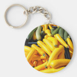 Squash in Yellow and Green Basic Round Button Keychain