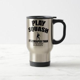 Squash player designs travel mug