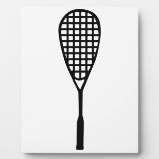 Squash racket plaque