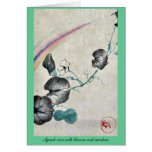 Squash vine with blossom and rainbow stationery note card