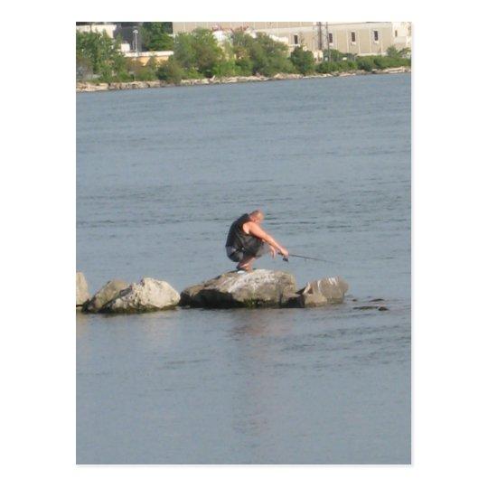 squat fishing postcard