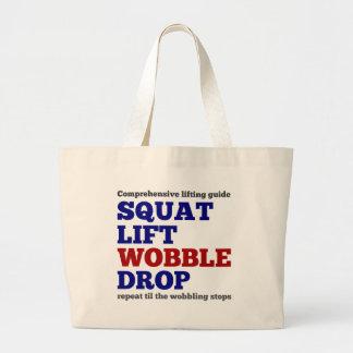Squat lift wobble drop. Gym motivation Canvas Bags
