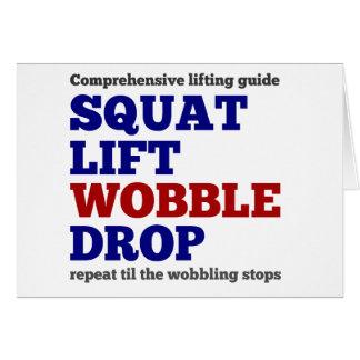 Squat lift wobble drop. Gym motivation Card