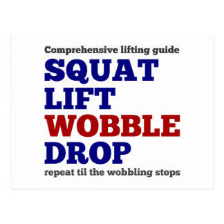 Squat lift wobble drop. Gym motivation Postcard