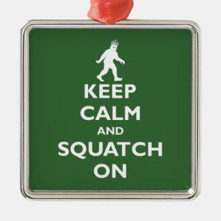 Squatch encendido adorno navideño cuadrado de metal