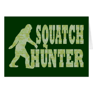 Squatch hunter on camouflage card