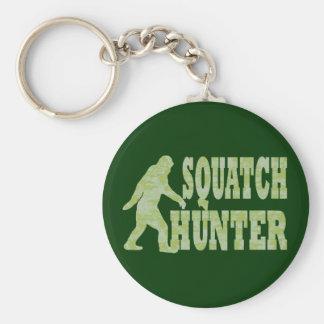Squatch hunter on camouflage keychain