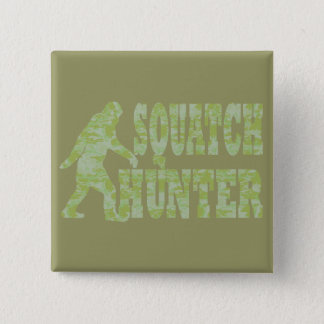Squatch hunter on camouflage pinback button