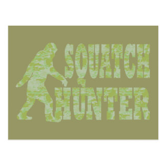 Squatch hunter on camouflage postcard