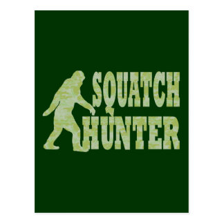 Squatch hunter on camouflage post card