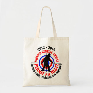 squatch hunting permit tote bag