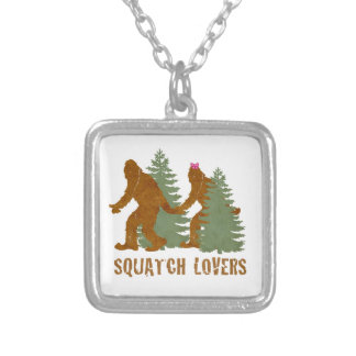 Squatch Lovers Silver Plated Necklace