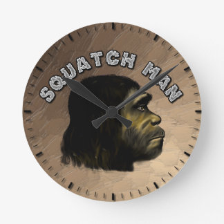 Squatch Man Round Clock