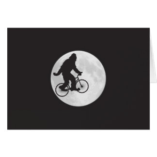 Squatch on a Bike In Sky With Moon T-shirt Card