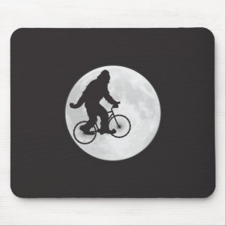 Squatch on a Bike In Sky With Moon T-shirt Mouse Pad