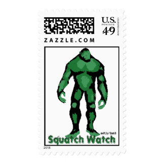 Squatch Watch Green Silhouette Postage Stamps